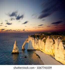 Etretat at sunset, France