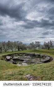 Etruscan graves outside Cortona, Tanella Angori, Tuscany Italy