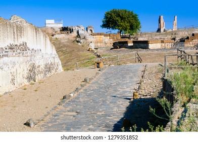 Etruscan Necropolis, Etruscan road, Naturalistic archaeological park of Vulci, Etruscan city, Montalto di Castro, Province of Viterbo, Latium, Italy