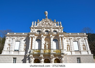 Ettal Abbey, Bavaria, Germany - March 22, 2014 - Front view of Linderhof Palace (German: Schloss Linderhof)