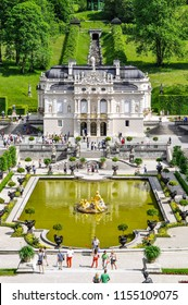 ETTAL ABBEY, GERMANY - AUGUST 12, 2018: Linderhof Palace in Summer German: Schloss Linderhof is a Schloss in Germany, in southwest Bavaria near Ettal Abbey. It is the smallest of the three palaces