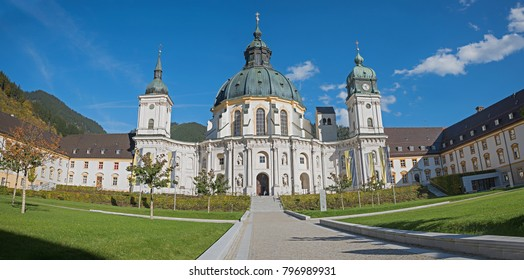 ETTAL, BAVARIA, GERMANY, October 12th, 2017 - inner courtyard of Ettal Abbey. View to the historic monastery and gardens. popular tourist destination near oberammergau, upper bavaria