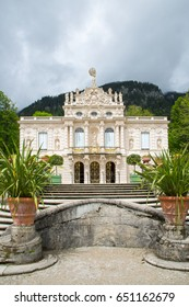 Ettal, Germany - June 5, 2016: Linderhof Palace is a Schloss in southwest Bavaria, Germany. It is the smallest of the three palaces built by King Ludwig II.
