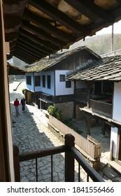 ETURA, BULGARIA - APR 16, 2019 - Traditional village houses, Ethnographic village, Etura, Gabravo, Bulgaria