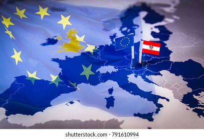 EU and Austria flag over an european union Map. Austria will hold the presidency of the Council of the EU for the period July-December 2018