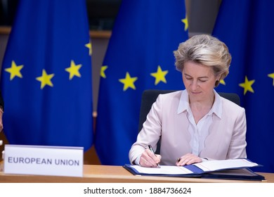 EU Commission President Ursula von der Leyen and EU Council President Charles Michel during a sign ceremony for the EU-UK Trade and Cooperation Agreement in Brussels, Belgium on Dec. 30, 2020.