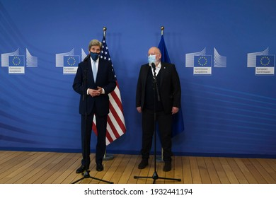 EU Commission Vice-president in charge for European Green Deal Frans Timmermans and US Special Presidential Envoy for Climate John Kerry prior to a meeting in Brussels, Belgium on March 9th, 2021.
