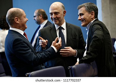 EU Commissioner Pierre Moscovici attends in Eurogroup finance ministers meeting at the EU headquarters at the Kirchberg Conference Centre in Luxembourg on Jun. 21, 2018