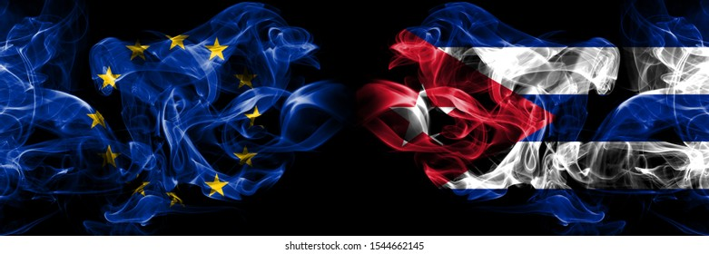 Eu, European union vs Cuba, Cuban smoke flags placed side by side. Thick colored silky smokes abstract flags