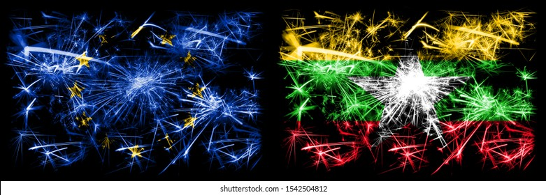 Eu, European union vs Myanmar new year celebration sparkling fireworks flags concept background. Combination of two states flags.