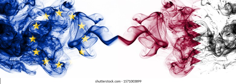 Eu, European Union vs Qatar, Qatari smoky mystic flags placed side by side. Thick colored silky abstract smoke flags combination