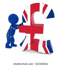 EU Flag 3D Man Character Pushing UK Flag Pound Symbol 3D Illustration