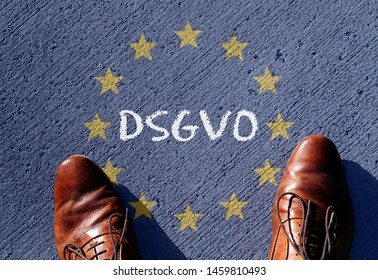 EU flag with the acronym DSGVO (German version of GDPR - General Data Protection Regulation) written on it