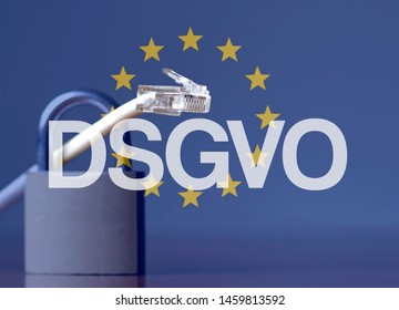 EU flag with the acronym DSGVO (German for GDPR - General Data Protection Regulation) written on it