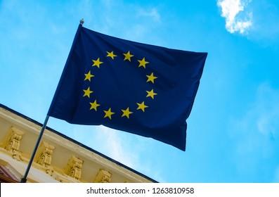 EU Flag against a blue sky