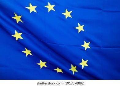 eu flag background in wind