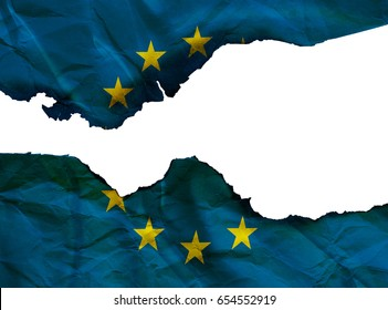 EU flag, burning flag of European Union isolated on white background, conceptual picture about Brexit and terror attack in the world