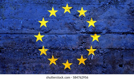 EU flag concrete texture