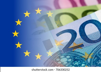 eu flag with euro banknotes mixed image