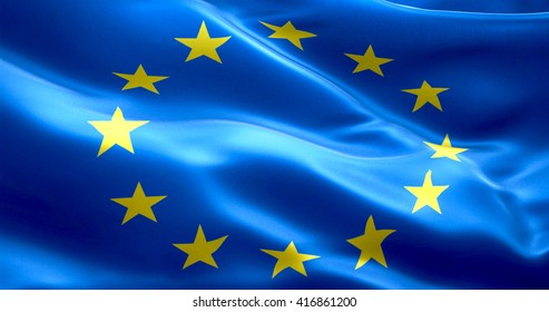 EU flag, euro flag, flag of european union waving, yellow star on blue background