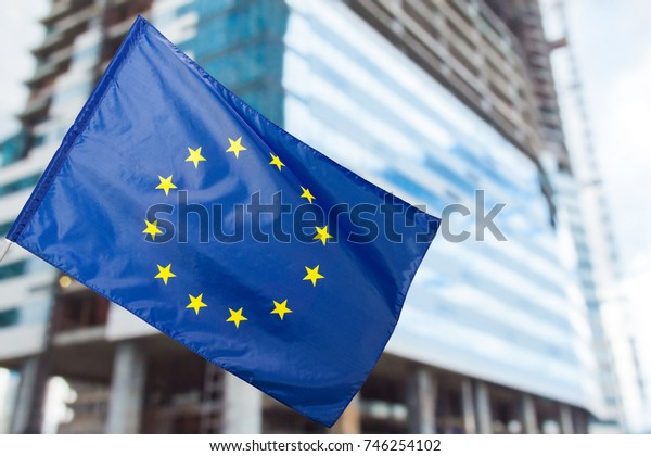 EU flag, euro flag, flag of european union waving