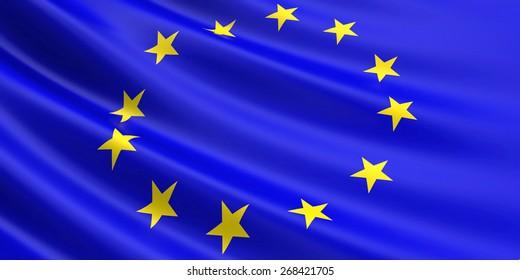 EU flag fluttering in wind.
