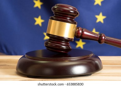 EU Flag and a gavel