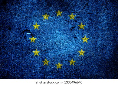 eu flag on grunged and cracked background