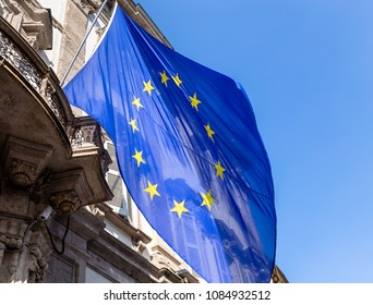EU flag on old building closeup shot
