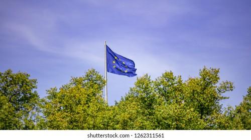 EU flag on pole. Waving flag of European Union over green trees. Blue sky background.