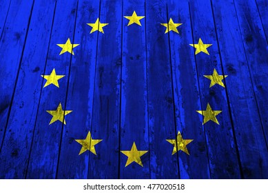 Eu flag on a wooden background