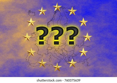 EU flag with stars and outlines of European countries – immigration crisis idea – uncertainty for European Union