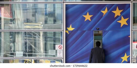 EU Flags outside The European Parliament, Brussels, Belgium - 02 Mar 2011