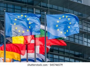EU Flags in Strasbourg - Photo