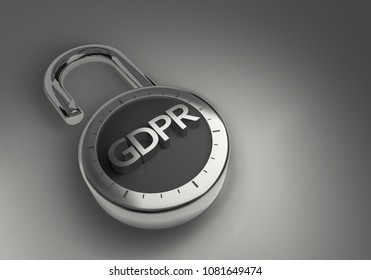 The EU GDPR General Data Protection Regulation of the European Union combination lock as 3d rendering. A combination lock with the EU GDPR General Data Protection Regulation of the European Union ind