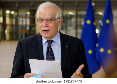 EU High Representative of the Union for Foreign Affairs and Security Policy Josep Borrell arrives to attend in an European Foreign Ministers meeting in Brussels, Belgium on February 22, 2021.