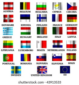 EU members state small flags in the wind