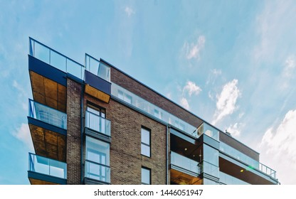 EU Modern glass architecture of apartment residential building. And outdoor facilities.