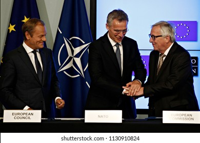 EU President Donald Tusk,NATO Secretary General Jens Stoltenberg ,EU Commission President Jean-Claude Juncker sign a new joint declaration on EU-NATO cooperation in Brussels,Belgium on 10 July, 2018