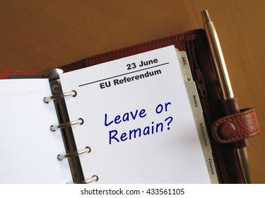EU Referendum reminder in a personal organizer
