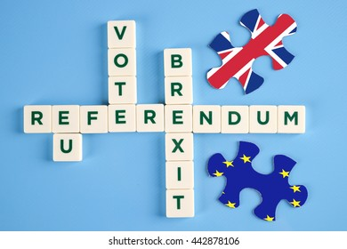 EU, Referendum,Vote & Brexit word tags, business conceptual.