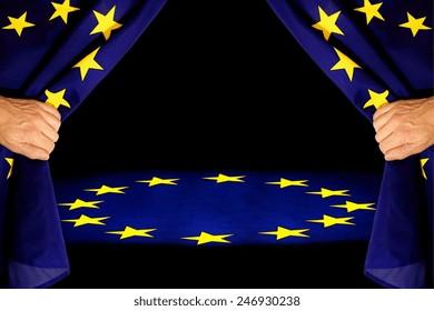 EU stge, curtain to open