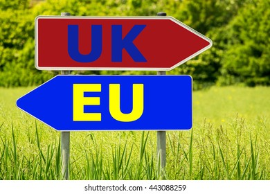EU - UK. British referendum. Abstract road arrow highway directions signs on green field background. Sign posts, different directions