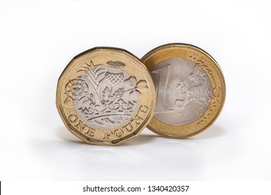 EU and UK money together, the euro and the pound