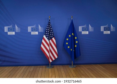 EU and U.S flags before a media conference of U.S. Secretary  John Kerry at EU headquarters in Brussels on March 9, 2021.