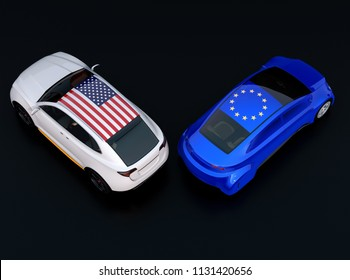 EU and US flags on two automobiles roof ( car top). black background. Europe USA trade war, American tariffs concept. 3D rendering image.