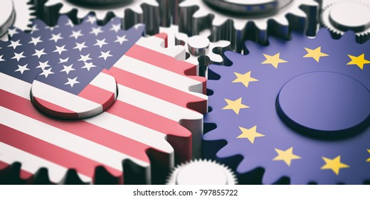 EU and USA relations concept. European Union and US of America flags on metal gears. 3d illustration