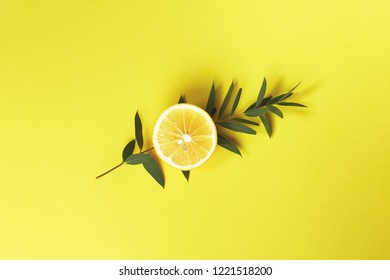 Eucalyptus branch and half a lemon on bright yellow background. Top view