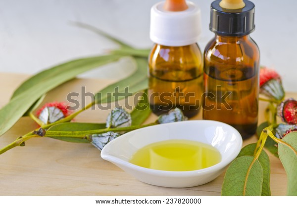 Eucalyptus leaves and essential oil on wooden cutting board. Selective focus. Taken in daylight.
