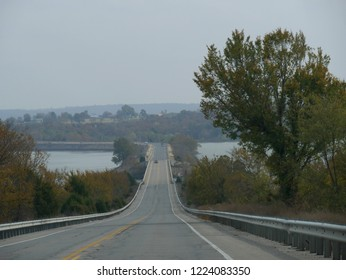 EUFALA, OKLAHOMA—SEPTEMBER 2017:  Bridge over Eufala Lake, Oklahoma's largest lake in the McIntosh County,  eastern Oklahoma.  Photo taken in September 2017.